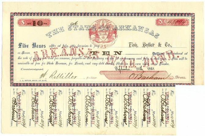 Very Fine Arkansas War Bond Issued to Fish, Butler, & Co.