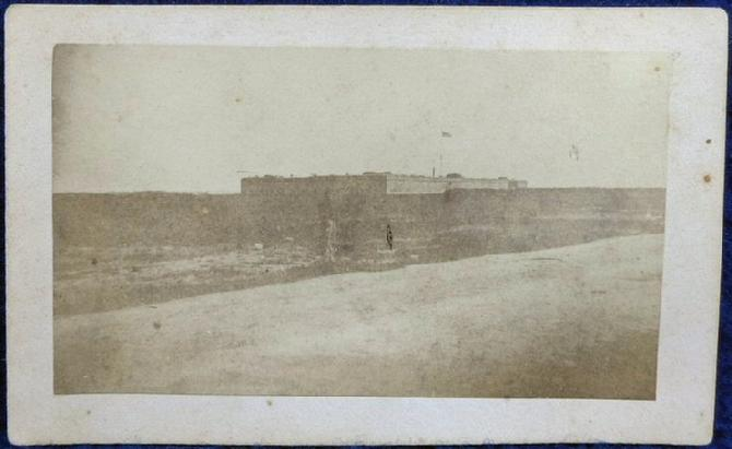 Rare Cdv by H.P. Moore of Concord New Hampshire - Exterior of Fort Pulaski, Georgia, with Sentry on Duty