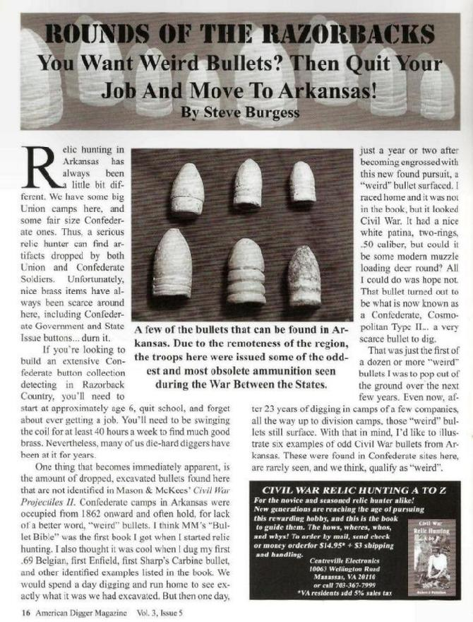 """Rounds of the Razorbacks"", Page 16, Volume 3 Issue 5, Sept./Oct. 2007 American Digger Magazine"
