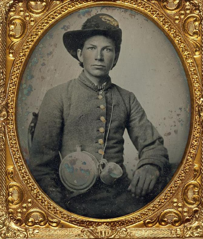 Unidentified Confederate with Canteen & Tin Cup.