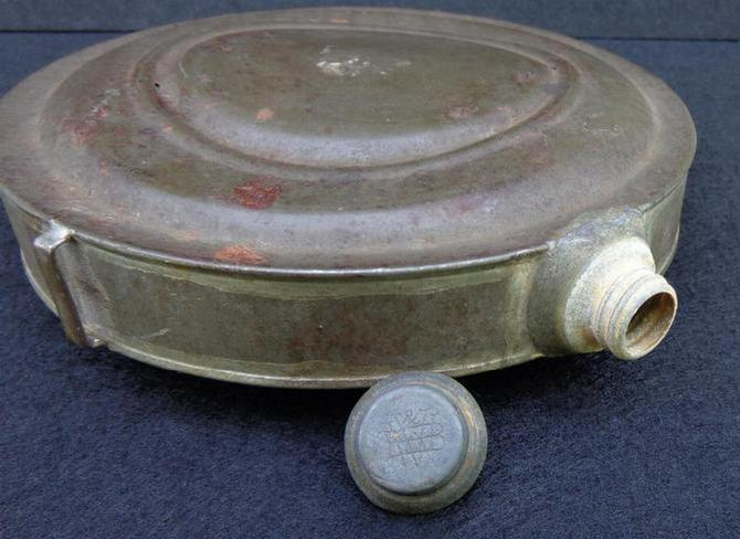 "Nice Civil War Period ""Raised Ring"" Tin Drum Canteen - w/Screw Cap & All Three Sling Loops"