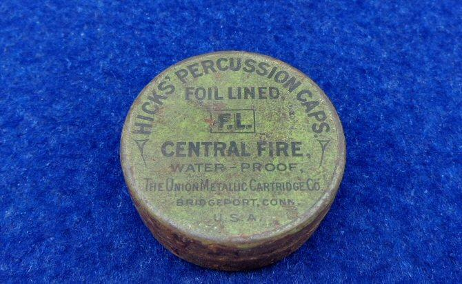 "Nice ca. 1900 Union Metallic Cartriddge Co. ""Hicks"" Percussion Cap Tin  w/Good Label and Partial Pistol Percussion Cap Contents"